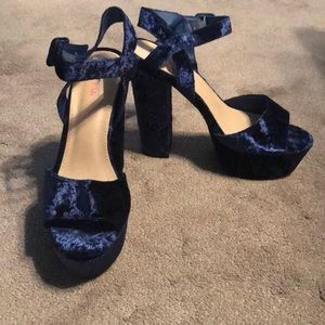 Velvet navy blue high heels
